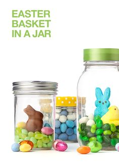 Fill a Mason jar with Easter candy for a cute centerpiece or gift.