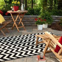 outdoor-teppiche-design-schwarz-weiss-muster-zigzag-garten-gartenmoebel-holz-kissen-blumen