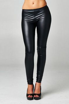 Black vegan leather leggings. Pair with your favorite oversize sweater. 100% Polyurethane.