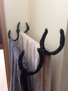 My horse shoe towel rack I had made up. Very happy.