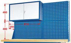 Nadbudowa stołu roboczego perforowana wysoka z szafką