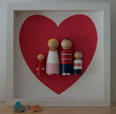 Customized Valentines Peg Doll Family Wall Art by BazarRosa, $65.00