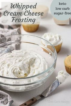 This easy sugar-free Whipped Cream Cheese Frosting can be piped as a delicious addition on low carb cakes and cupcakes! This recipe is great for keto, low carb, sugar free and THM diets! I know you will love this low carb frosting recipe!