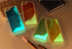 Glow In The Dark Iphone 5 6 Plus Liquid Case Running Liquid Luminous Quicksand Glitter Hard Plastic Back Case For iPhone 5 5S IPhone 6