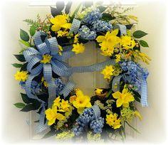 Designer Wreath with Blue Hyacinths and by MarysBluebirdWreaths, $74.95