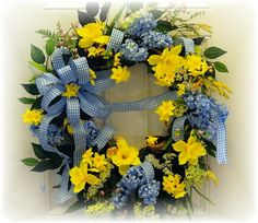 Blue and yellow spring wreath