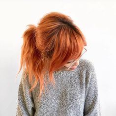 Peach strawberry copper hair color hairstyle