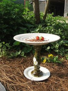 A plain jane version but pretty. Two plates and a candle holder is all it takes to make this bird feeder.