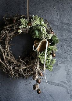 Fall Twig Wreath with acorns, ribbon, pine cones and seed pods. Natural Christmas, Noel Christmas, Rustic Christmas, All Things Christmas, Winter Christmas, Christmas Crafts, Christmas Decorations, Modern Christmas, Minimal Christmas