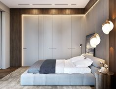 """Master Bedroom in the project """"Depre Loft"""" by Ab-architects Luxury Bedroom Design, Bedroom Bed Design, Luxury Interior, Bedroom Decor, Wall Decor, Bed Headboard Design, Small Apartment Bedrooms, Master Room, Hotel Interiors"""