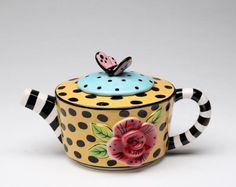 Appletree Design Lady Lux Teapot, Appletree Design is noted for its collection of whimsical and colorful ceramic kitchen related items. Pottery Teapots, Ceramic Teapots, China Teapot, Vases, Teapots And Cups, My Cup Of Tea, Tea Service, Chocolate Pots, Hand Painted Ceramics