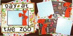 12 x 12 Premade Scrapbook Layout Day at the Zoo -- Safari -- Animal Kingdom. $21.99, via Etsy.