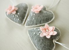Three embroidered felt hearts, house decor, grey heart, heart ornament, baby shower, gift heart, small gift, grey felt heart, set of hearts
