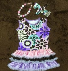 WILDFLOWERS DRESS SET Price $32.00, Free Shipping Options: 2T, 3T, 4T, 5, 6, 7