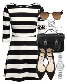 """""""Style #9856"""" by vany-alvarado ❤ liked on Polyvore featuring H&M, Ray-Ban, The Cambridge Satchel Company, Jimmy Choo, Burberry, women's clothing, women, female, woman and misses"""