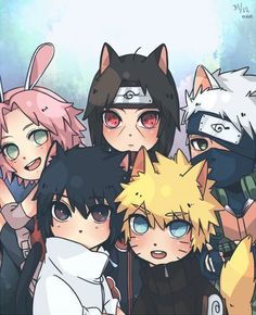 Neko Naruto, Itachi, Kakashi, Sasuke, Sakura.