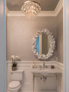 Perfect grasscloth color with wainscot - love the metallic tint