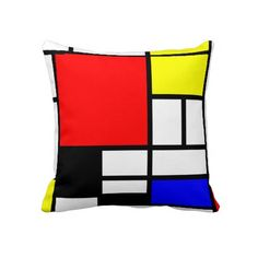 Mondrian Couch Throw Pillow by Dizzy Moments - Cover x with pillow insert - Indoor Pillow Modern Throw Pillows, Throw Cushions, Couch Pillows, Throw Pillow Cases, Designer Throw Pillows, Down Pillows, Outdoor Throw Pillows, Decorative Pillows, Pillow Covers