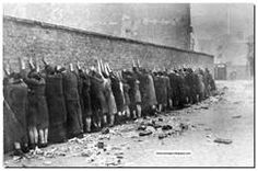 Jews about to be executed after the Warsaw Ghetto Uprising.