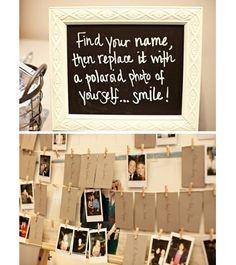 encuentra tu nombre y remplaza la tarjeta con una foto tomada con una polaroid ... otro recuerdo que obtendrán los novios además de las fotos profesionales