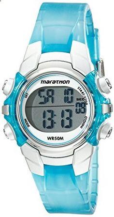 Timex Women's T5K817M6 Marathon Digital Display Quartz Blue Watch. Go to the website to read more description.