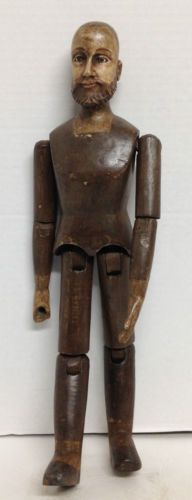 HANDCARVED WOOD ARTICULATED MALE MANNEQUIN