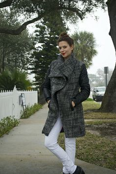 Mood Fabrics wool and leather coat by sallieoh, via Flickr (V8933)