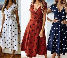 Rochite de vara cu buline Casual, Wrap Dress, Model, Outfits, Dresses, Fashion, Casual Gowns, Feminine Fashion, Women