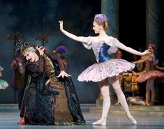 Pacific Northwest Ballet principal dancer Olivier Wevers as the evil Carabosse, and principal dancer Carla Körbes as the Lilac Fairy in Ronald Hynd's The Sleeping Beauty.  Photo © Angela Sterling.