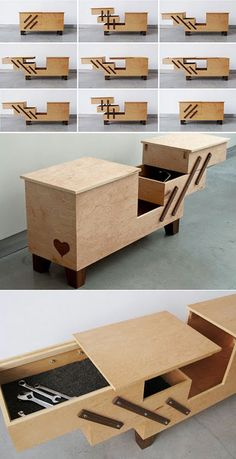 Products designed For the Love of Bikes - Folding Furniture, Smart Furniture, Space Saving Furniture, Wood Furniture, Furniture Design, Woodworking Projects Diy, Diy Wood Projects, Woodworking Plans, Wood Crafts