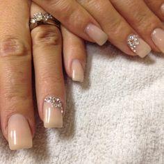 en Vogue gel nails done by me. Camouflage gel - nude Swarovski crystal design