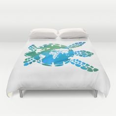 Sea Turtle Duvet Cover or Comforter Mother by ArtfullyFeathered