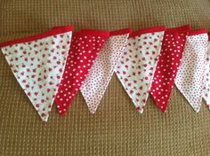 Shabby chic 9 flag fabric bunting banner with red roses and poka dots