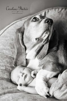 Newborn baby boy and a hound dog by lacey SO SWEET