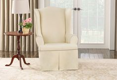 Sure Fit Contrast Cord Duck Natural Chair Slipcover (Natural/Cocoa), Beige Off-White (Solid) Wingback Chair Slipcovers, Sure Fit Slipcovers, Ottoman Slipcover, Furniture Slipcovers, Casual Decor, Living Room Pillows, Wing Chair, Home Decor Shops, Chair Covers