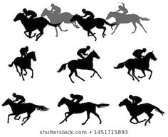 race horses and jockeys silhouettes collection - vector Horse Template, Racehorse, Horse Racing, Silhouettes, Royalty Free Stock Photos, Symbols, Horses, Illustration, Character