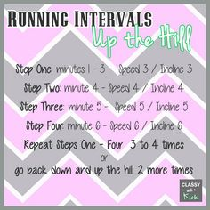 {WIOW} - How I Make Running Fun: Running Intervals - Up the Hill. Using inclines while running. Running Intervals, Run And Ride, Baby Body, Running Away, Excercise, Get Healthy, Treadmill, Crossfit, Cardio