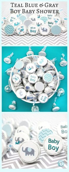 So cute - Teal Blue and Gray Elephant Baby Shower Favor Boy Stickers for Hershey Kisses in 9 different designs.  Celebrate that It's a Boy with Teal Elephants, Gray Chevrons, Hearts and more.   #boybabyshower