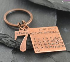 ... Number 7 Years charm. Solid copper gift for 7th wedding anniversary