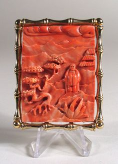 Chinese Carved Pink Coral Brooch / Pendant.