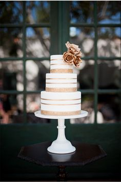 Rose Gold and White Wedding Cake by Sweet and Saucy Shop via StyleUnveiled.com / McCune Photography / Peach and Gold Wedding Ideas