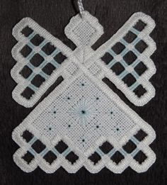 Hardanger Angel Ornament - Baby Blue