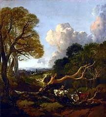 Thomas Gainsborough, The Fallen Tree, probably between 1750 and 1753, Oil on…