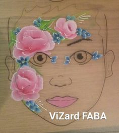 Roses face painting paint girl design onestroke