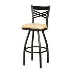 "Regal Swivel Bar Stool Seat Height: 30"", Finish: Anodized Nickel, Upholstery: Black Wood"