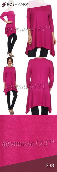 "COMING SOON!!! MAGENTA SWING TUNIC 🇺🇸SUPPORT BUYING MADE IN USA CLOTHING!!! Gorgeous solid magenta tunic, featuring a true to size women's relaxed fit, 3/4 sleeve top in a long body/tunic style with a crew neck and an asymmetric hem. S(2-4) M(6-8) L(10-12) - 95% rayon, 5% spandex. Won't shrink. Model is 5'7"" and wearing size small. Could be worn as a dress for shorter women or with leggings. PRICE IS ABSOLUTELY FIRM UNLESS BUNDLED AS MADE IN USA CLOTHING MANUFACTURING COSTS ARE HIGH…"