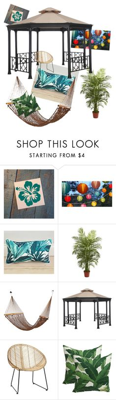 """""""The Tropics- Patio"""" by racheld725 ❤ liked on Polyvore featuring interior, interiors, interior design, home, home decor, interior decorating, Nearly Natural, palmtree, tropicalprints and patio"""