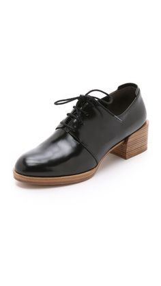 A chunky, raised heel gives these 3.1 Phillip Lim oxfords an updated, sculptural profile. The leather upper has a lace-up closure and a slim, extended counter. - 3.1 Phillip Lim Jillian Oxfords