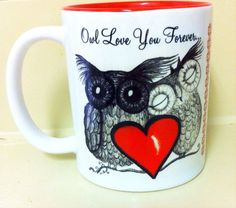 Two-tone Owl love mug - available now @ http://www.etsy.com/shop/inkydreamz