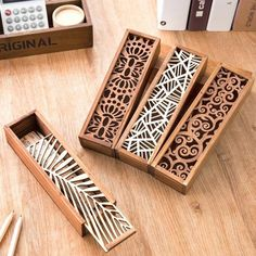 - South Korea creative stationery lace hollow wooden pencil case, pencil box multifunction students - Three trees home supplies stores Laser Cutter Ideas, Laser Cutter Projects, Cnc Projects, Wooden Pencil Box, Pencil Boxes, Gravure Laser, Diy Holz, Laser Cut Wood, Laser Cutting